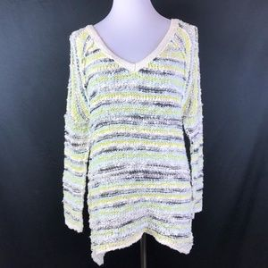 Free People Sweater Size Medium Blue White Yellow